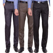 Tiger Grid Pack of 3 Cotton Formal Trouser For Men_Md045