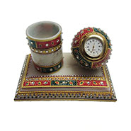 eCraftIndia Meenakari Pen Stand with Clock - Multicolor