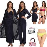 Set Of 14 Pcs Clovia Nightwear, Bra & Brief Set -NSC300C99