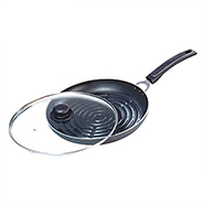 OK Non Stick Grill Pan with Glass Lid-GP3 - Black