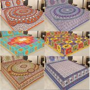 Priya Fashions Set of 6 Traditional Cotton Double Bedsheets with 12 Pillow Covers -PF102WP6B