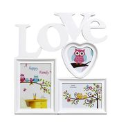 White Love Message 3 Pictures Collage Photo Frame