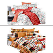 Set of 2 PARAS FASHIONS Cotton Printed Double Bed sheets With 4 Pillow covers-PFJDBCOM2001