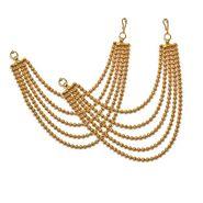 Pourni Stylish Brass Ear Chain_Prerchain01 - Golden