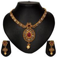 Pourni Stylish Brass Necklace Set_Prnk42 - Golden
