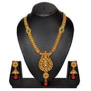 Pourni Stylish Brass Necklace Set_Prnk51 - Golden