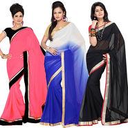Pack of 3 Silkbazar Plain Chiffon Saree-feb_noor_2
