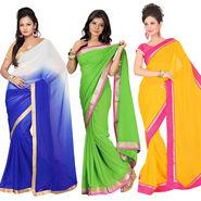 Pack of 3 Silkbazar Plain Chiffon Saree-feb_noor_6