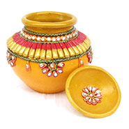 eCraftIndia Paper-Mache Kundan Matki - Multicolor