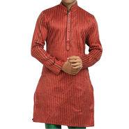 Runako Regular Fit Printed Party Wear Kurta Pyjama For Men_RK4091 - Red