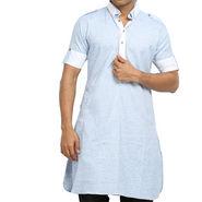 Runako Regular Fit Printed Party Wear Pathani Kurta For Men_RK4109 - Blue