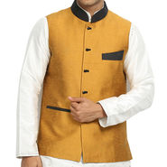 Runako Silk Sleeveless Nehru Jacket_RK4123 - Gold Yellow