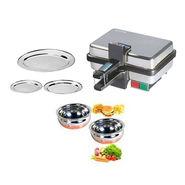 Combo Of Detak 2 Pcs Handi Set + 3 Pcs Oval Tray Set With Sandwich Maker