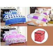 Bellamata Multicolor Print 3 Double Bedsheet With 6 Pillow Covers + Free 1 Storage Bag -RMC10