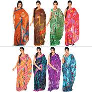 Resham Set of 8 Satin Patta Sarees (8S2) - AKSO