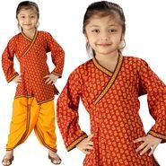 Little India Sanganeri Floral Design Ethnic Dhoti Angarkha - DLI3KED201C