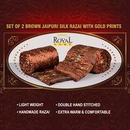 Set of 2 Brown Jaipuri Silk Razai with Gold Prints