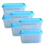 Chetan Set of 6 Pcs Plastic Storage Container For Fridge (600ml Each) - Blue