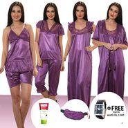 Set of 7 Mia Satin Nightwear - Purple