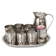 Shubham 8 Pcs Steel Water Glass Jug / Container Set