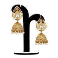 Spargz Pear Shape Jhumka Earrings - White _AIER369