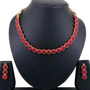 Spargz Kemp Stone Design Necklace Set - Red _ KNS3073