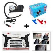 Combo of Air Compressor with Tubeless Tyre Puncture Kit