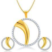 Sukkhi Fancy Gold & Rhodium Plated Pendant Set - White & Golden - 4066PSCZL1450