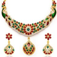 Sukkhi Classic Peacock Gold Plated Necklace Set - Golden - 2129NADV2000