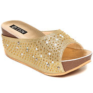 Synthetic Leather Gold Wedges-pltesangld01