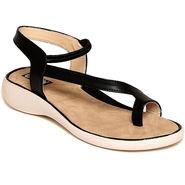 Leather Black Sandals -546Blk03
