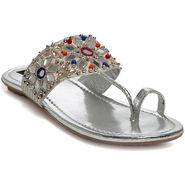Ten Leather Silver Slippers -Te09