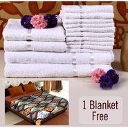 Combo of 100% Cotton Towel Set & Double Bed Fleece Blanket-CA1209