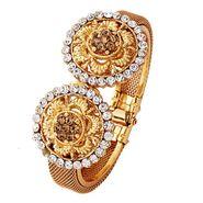 Variation Flower Designer Gold Plated Openable Bangle_Vd11510