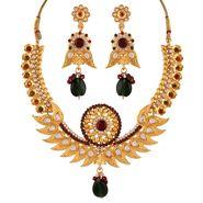 Variation Red & Green Kundan Gold Plated Necklace Set_Vd14217