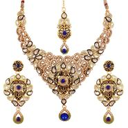Variation Royal Blue Kundan Necklace Set With Mangtika_Vd14228