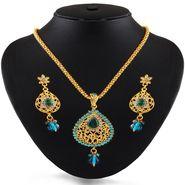 Variation Blue Gold Plated Party Wear Pendant Set_Vd15285