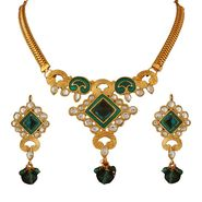 Variation Green Meenakari Party Wear Gold Plated Necklace Set_Vd15746