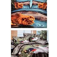 Valtellina Set Of 2 4D Print Double Bed Sheet With 4 Pillow Cover-Multicolor - 12450502