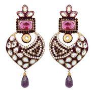 Vendee Fashion Wild Heart Dangler Earrings - Purple - 8409