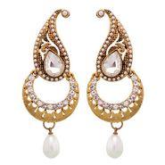 Vendee Fashion Kundan Earrings - Golden - 8414