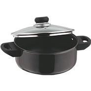 Vinod Black Pearl 220mm Cook & Serve Pot with Lid - Black