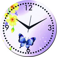 meSleep Butterfly Wall Clock With Glass Top-WCGL-01-55
