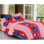 Valtellina Rose  Design Pink Color Double bedsheet With 2 Pillow cover