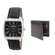Combo of Zion Fashion 1 Wrist Watch + 1 Gents Wallet_ZW 379