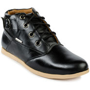 Foot n Style Leather Black Sneaker Shoes -fs3115