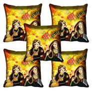 Set of 5 meSleep Digitally Printed Raja Rani Cushion Cover-meSleep-Raja-Rani
