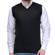Oh Fish Plain Sleeveless V Neck Sweater For Men_Sblk1 - Black