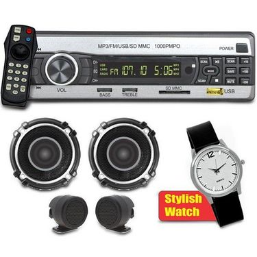 Car Stereo with FM, MP3, USB, SD Card Support + Speakers + Tweeters + Stylish Watch
