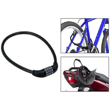 4 Digits Combination Multipurpose Number Lock for Bikes/Helmets/Luggage - Black